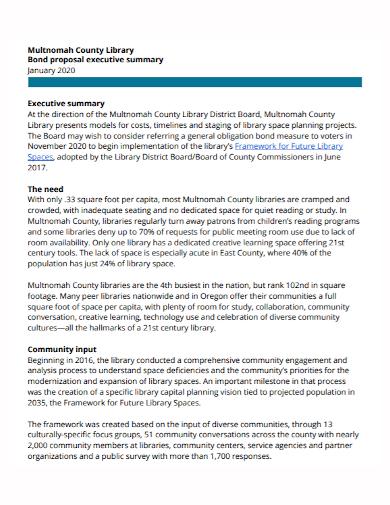 executive summary bond proposal