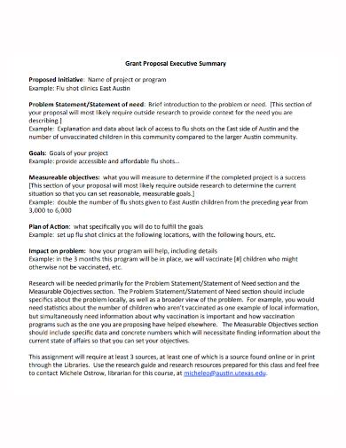 executive summary grant proposal