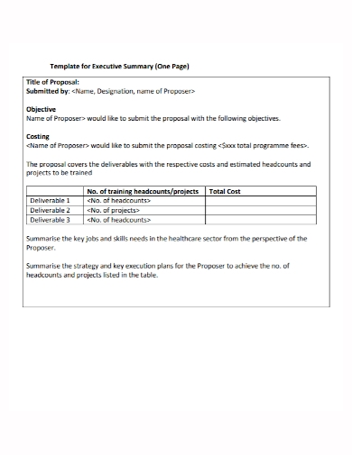 executive summary one page proposal