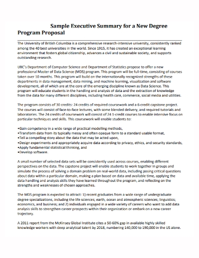 executive summary program proposal