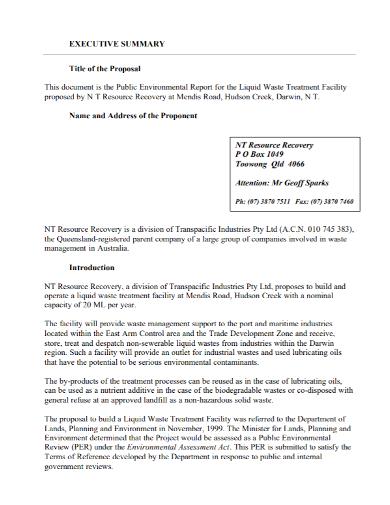 executive summary title proposal