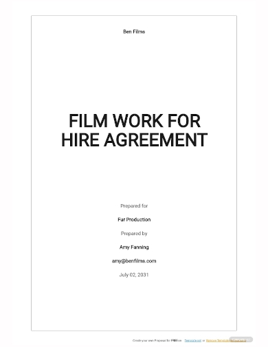 film work for hire agreement template