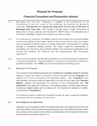 financial consulting advisor proposal