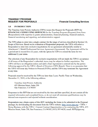 financial consulting program proposal