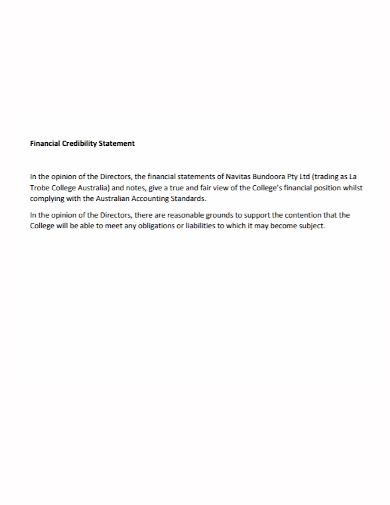 financial credibility statement