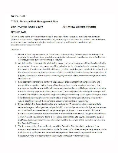 financial risk management policy plan