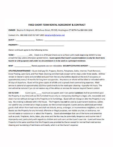 fixed short term rental agreement