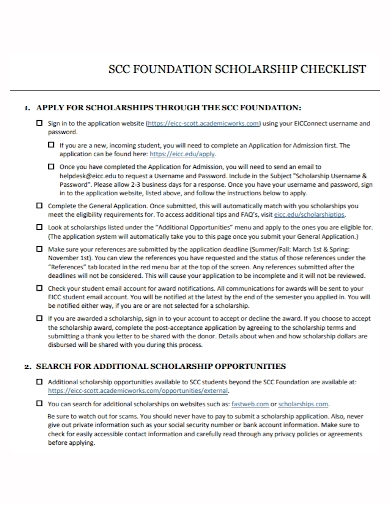 foundation scholarship checklist