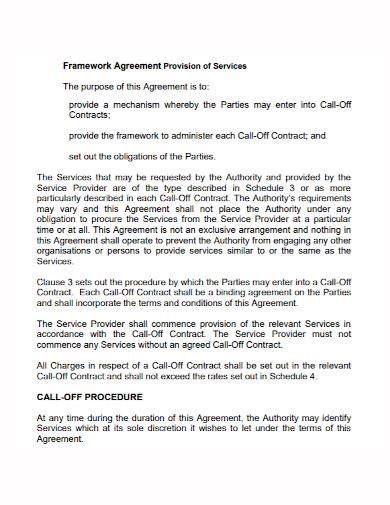 framework provision services agreement