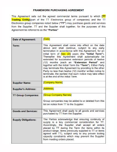 framework purchase trading agreement