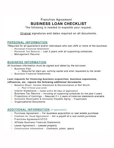 franchise agreement business loan checklist