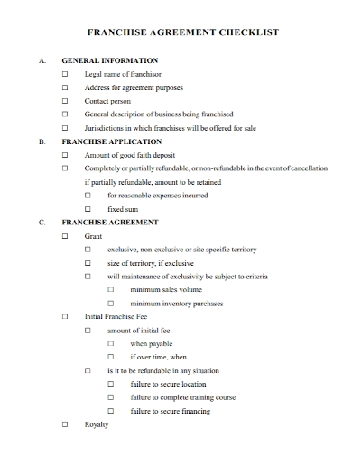 franchise agreement checklist