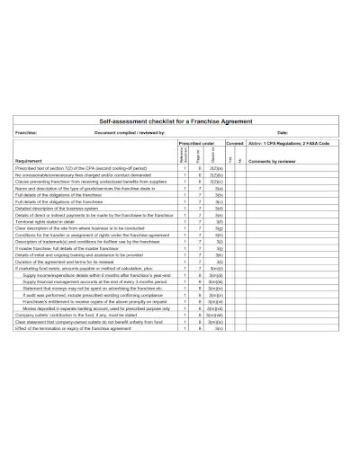 franchise agreement self assessment checklist