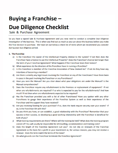 franchise sales and purchase agreement checklist