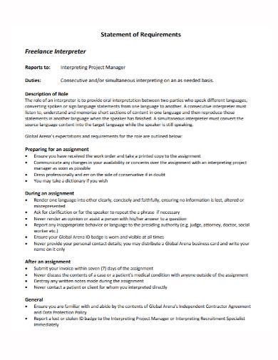 freelance interpreter statement