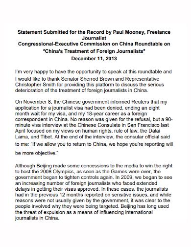 freelance journalist statement