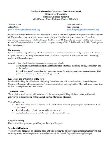 freelance marketing statement of work
