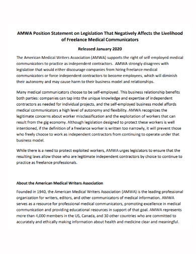 freelance position statement