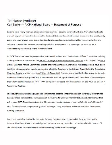 freelance producer statement of purpose