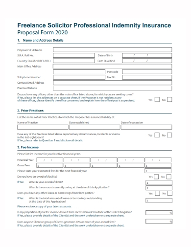freelance solicitor insurance proposal form