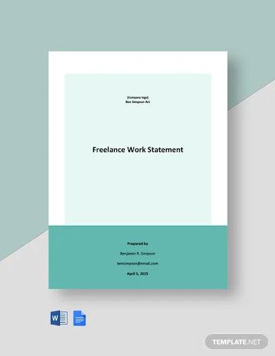 freelance work statement template