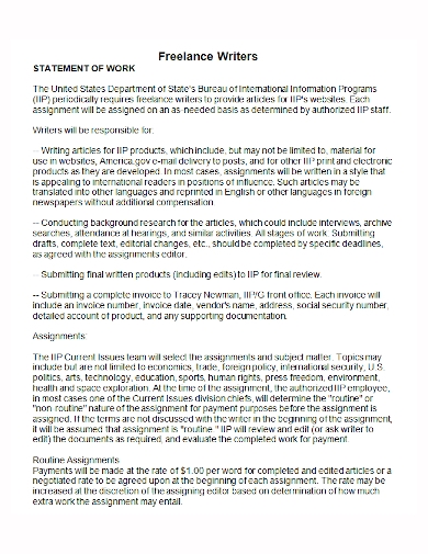 freelance writer statement of work