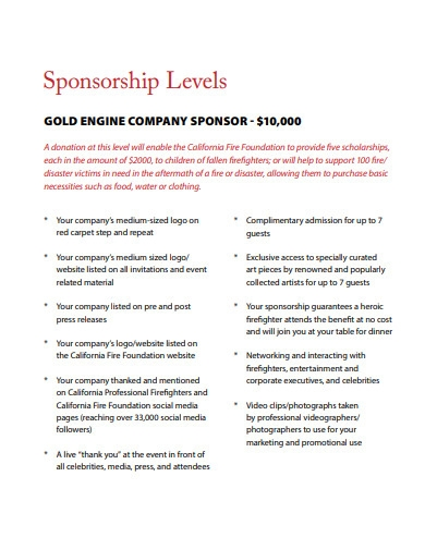 gala event artist sponsorship proposal