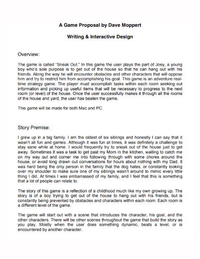game interactive design proposal
