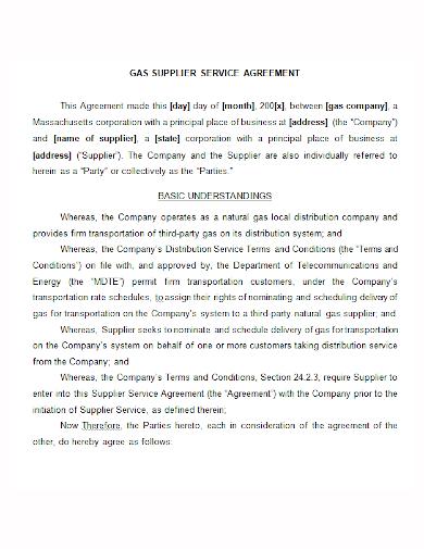 gas supplier service agreement