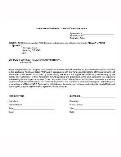 goods and services supplier agreement