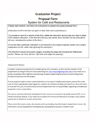 graduation restaurant project proposal