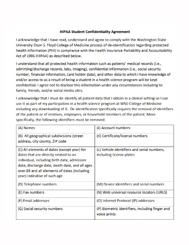 hipaa college student confidentiality agreement