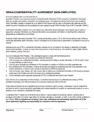 hipaa non employee confidentiality agreement