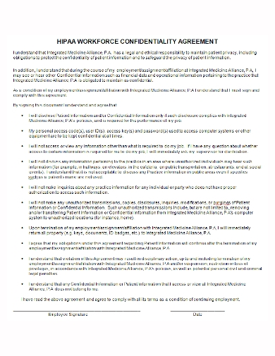 hipaa workforce confidentiality agreement