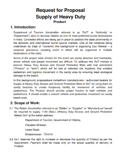 heavy duty product supply proposal