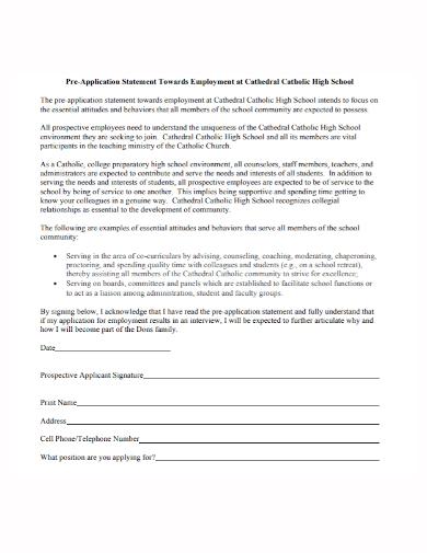 high school application statement