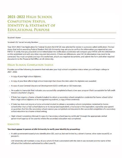 high school completion purpose statement