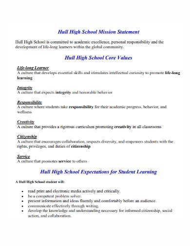 high school mission statement