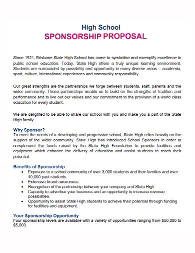 high school sponsorship proposal