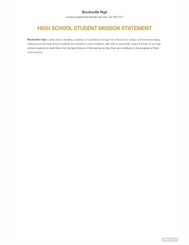 high school student mission statement template