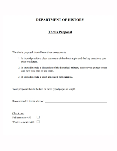 history department thesis proposal