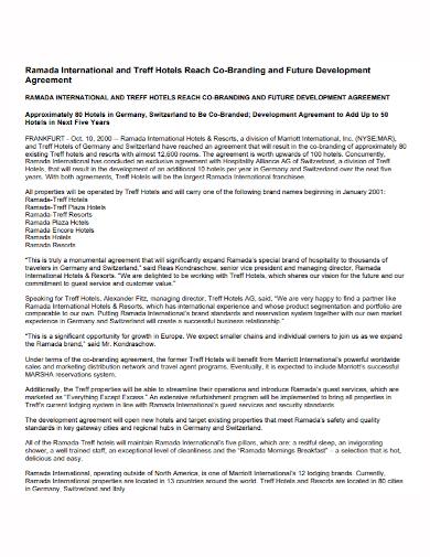 hotel co branding development agreement