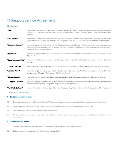 it support service agreement