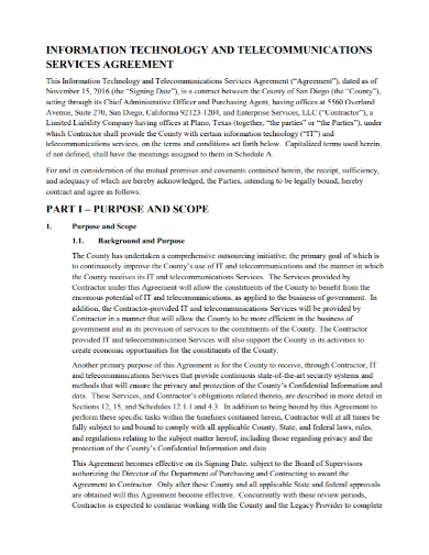 it telecommunications service agreement