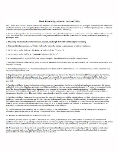 internet video music license agreement