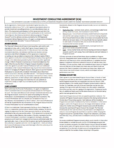 investment advisory consulting agreement