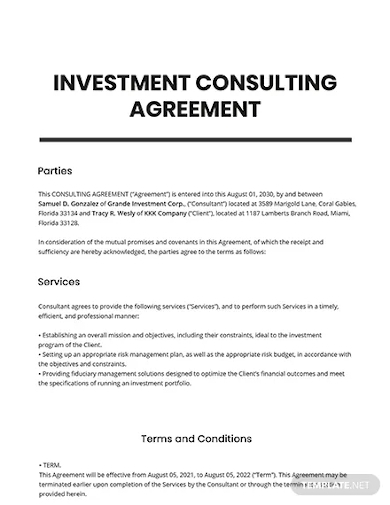 investment consulting agreement template
