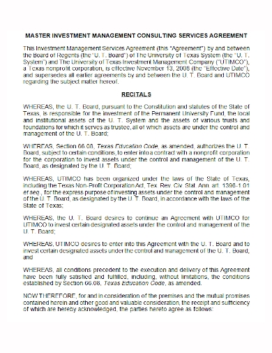 investment management consulting agreement
