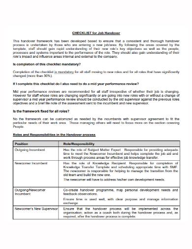 job handover checklist