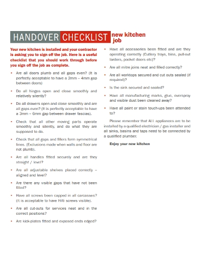 kitchen job handover checklist